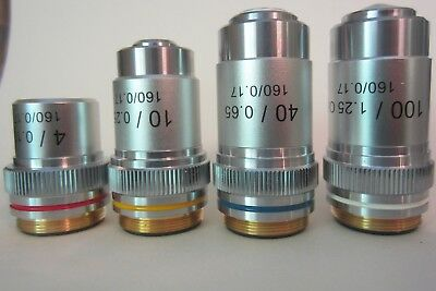 AmScope Achromatic Objective lens set : 4X, 10X, 40X  100X Lot of 4 pieces