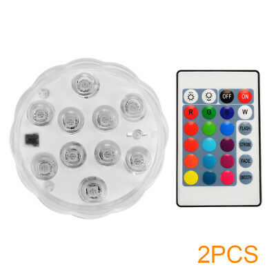 2x Waterproof LED RGB Submersible Light Party Vase Lamp W/ Remote Control LD1429