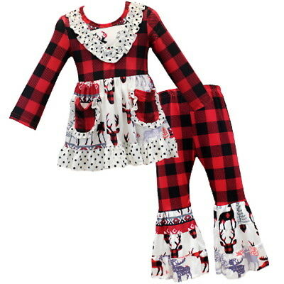 Girls ruffled pants boutique outfit buffalo plaid red black 3 5 7 8 10 12 kids