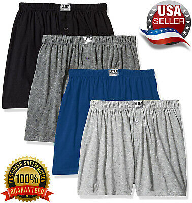 ULTRA Mens Knit Boxer Shorts 100% Cotton Assorted Solid Color Underwear - 4 Pack