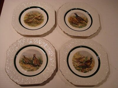 4 Cuthbertson Game Birds Square Plates Made in England Hand Accented a