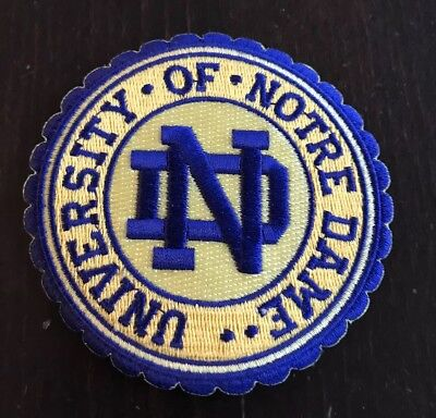 """University of Notre Dame embroidered Iron On patch!  3 1/2"""" Round. Awesome!!"""