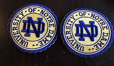"""(2)-University of Notre Dame embroidered Iron On patches 3 1/2"""" Round. Awesome!"""
