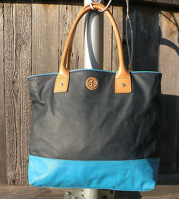 f5b1dd86d81 Authentic Tory Burch Jaden Dipped Canvas Tote Turquoise Navy Colorblock