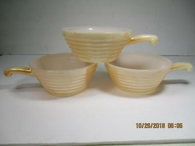 3 Vtg Fire-King Ovenware Beehive Peach Lustre Handled Chili Soup Bowls USA