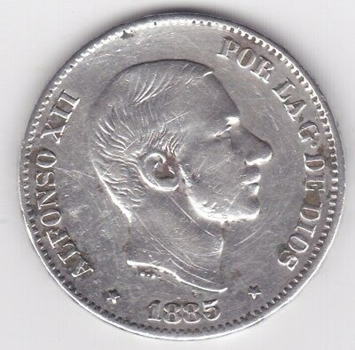 1885 Philippines 50 Centimos Silver Coin XF+