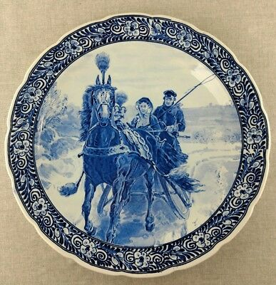 "Large 15 3/4 "" Delfts Blue Wall Plate Charger Holland Horse Carriage Winter"