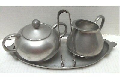 5 pc. Vintage Royal Holland Pewter K.M.D.Tiel Creamer, Sugar, Lid, Tongs & Tray