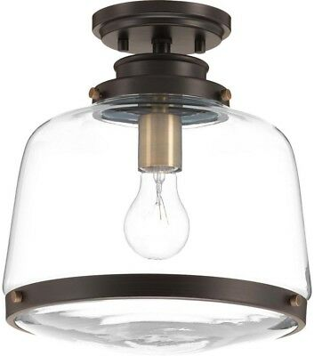 Flush Mount Lighting 1-Light Dimmable Antique Bronze With Alabaster Glass Shade
