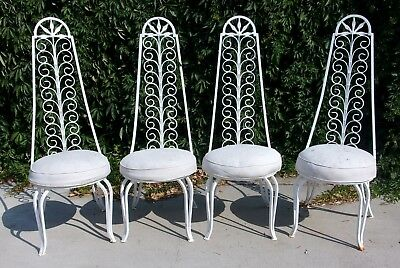 4 Vintage Wrought Iron High Back Chairs Patio Home Spanish Decor Umanoff Style