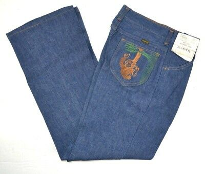 Vtg 1970s Maverick Boys Embroidered Monkey Jeans Millwashed Boot Flare 12 26x27