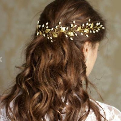 Gold Vine Pearls diamonte Wedding Bride Band Tiara Hair accessories garland