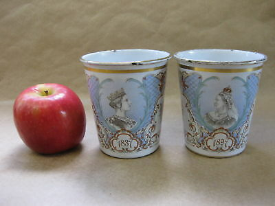 Queen Victoria 1897 Diamond Jubilee ~ Pair of Antique Enamel Beakers ~Young, Old