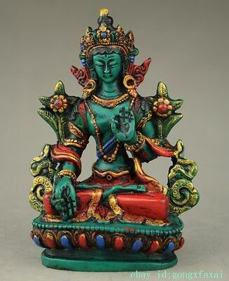 Collectible Chinese Cloisonne Hand Carved Tibetan Buddhism Buddha Statue