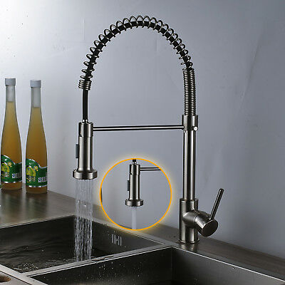 Pull Down Sprayer Spring Kitchen Faucet Deck Mount Single Handle Vessel Mix Tap