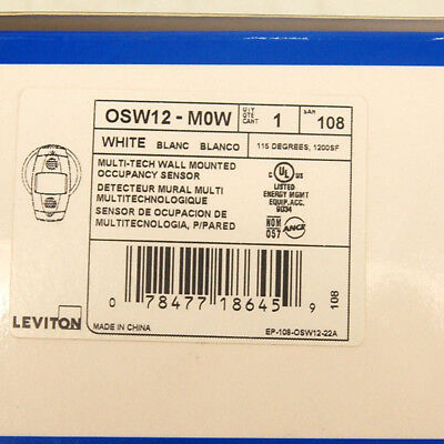 Leviton Commercial OSW12-M0W Multi-Tech Ceiling/Wall Mounted Occupancy Sensor