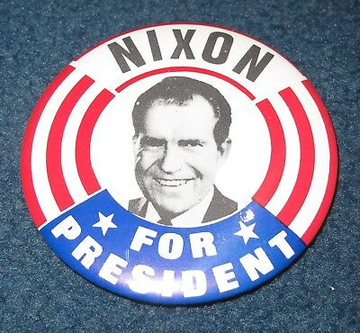 1968 Richard Nixon for President Campaign Button, 3-3/8 Inch