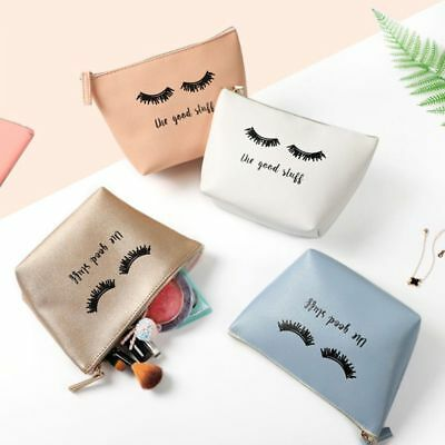 Cartoon Eyelash Coin Storage Case Travel Makeup Pouch Cosmetic Bag For Women