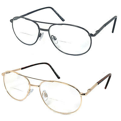 High Quality Retro Aviator Metal Frame Bifocal Clear Lens Reading Glasses RE69