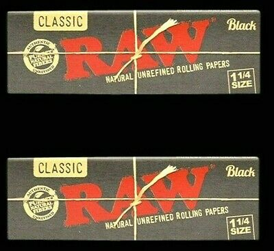 2 Packs Raw Classic Black 1.25 1 1/4 Natural Unrefined Rolling Papers US SHIPPER