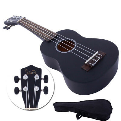 "21"" Soprano Basswood Ukulele Beginner Student 4 Strings with Gig Bag Gift Black"