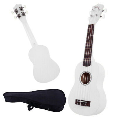 "21"" Soprano Basswood Ukulele Beginner Student 4 Strings with Gig Bag Gift White"