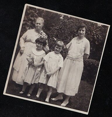 Vintage Antique Photograph Two Women & Two Little Girls Standing in the Garden