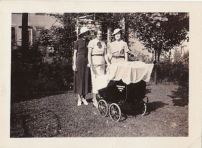 Old Antique Vintage Photograph Three Well Dressed Women With Baby Carriage