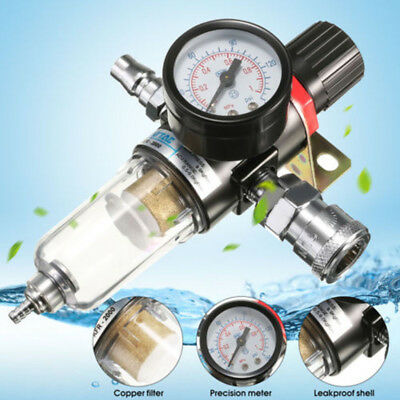 Air Filter Regulator Compressor 1/4 Inch Pressure Gauge-with Pressure Gauge New