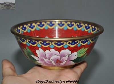 """5"""" Old Chinese Dynasty Palace Bronze Cloisonne Peony flower Bowl Cup Bowls"""