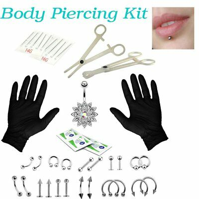 AU 41pc Pro Body Piercing Tool Kit Ear Nose Stud Belly Navel Nipple Needles Set