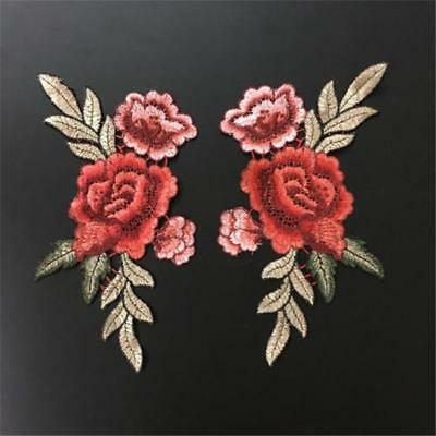 Rose Flower Applique Badge Floral Patch Embroidered Sew On Clothes Patches JA