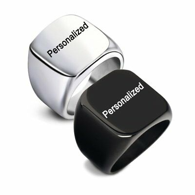 Unique Stainless Steel DIY Personalized Custom Engraved Men's Finger Ring Band
