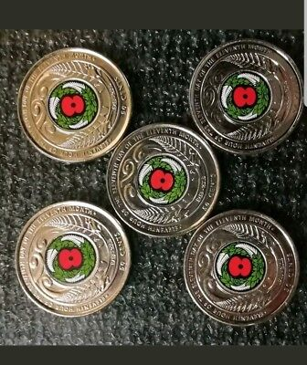 2018 coloured NEW ZEALAND Armistice 50 Cent Coins x 5 COINS .Rare.uncirculated.