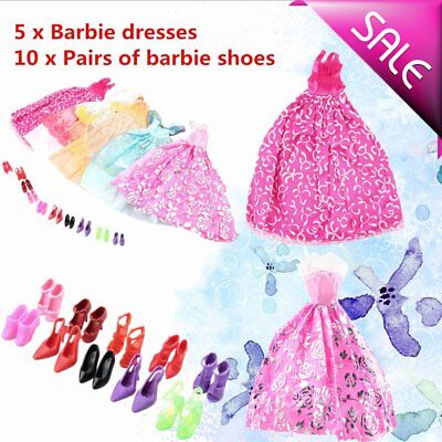 5Pcs Handmade Princess Party Gown Dresses Clothes 10 Shoes For Barbie Doll UD