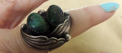 Fabulous LOREN BEGAY Signed Collectible Ring Natural Turquoise Foliate Leaves 7