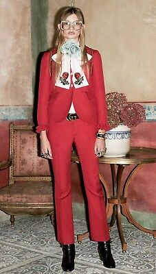 24ab20123 3.3K GUCCI Ruffled Wool & Silk-blend Red Jacket & Pants Suit NEW WITH