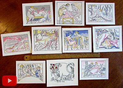Art Deco 1921 Erotica pochoir prints lot x 10 nudes lovers women