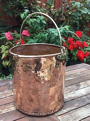 Victorian Riveted Copper English Swing Handle Coal Bucket Scuttle For Hearth