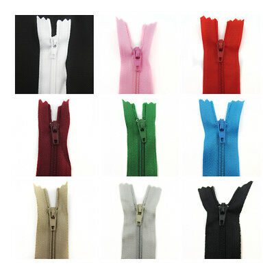 "No.3 CLOSED END 4"" - 22"" NYLON ZIPS  *10 COLOURS* HABERDASHERY ZIPPER SEWING"
