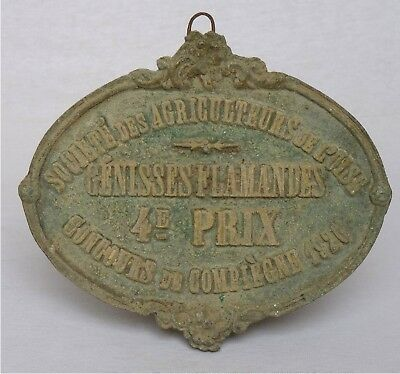 VINTAGE FRENCH CAST IRON AWARD PLAQUE~ 1926 ~ Flemish Heifers ~ 4th Place