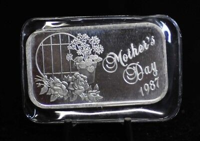 Sealed 1987 Mother's Day SilverTowne 1oz .999 Fine Silver Art Bar [10DUD]