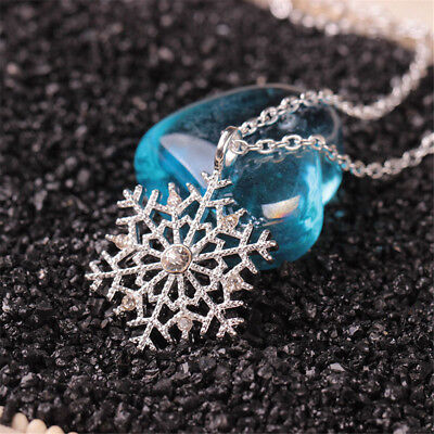 Charm Silver Frozen Snowflake Crystal Necklace Pendant Chain Xmas Gift Hot Sale