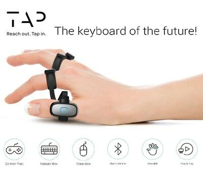 Tap Strap Bluetooth Enabled Wearable Keyboard & Mouse, Cross Platform Controller