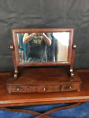 Antique Art deco 1924 watnut Dressing Table mirror with Original Drawers