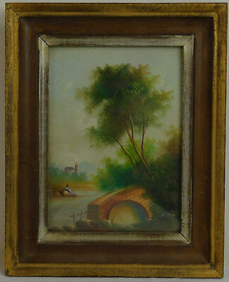 "Old Oil Painting on Copper Landscape with River Framed Art Decor (10"" x 8"")"