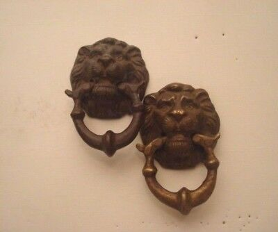 Two  Vintage Small LION Head Door Knocker SOLID BRASS  3 1/2 inches