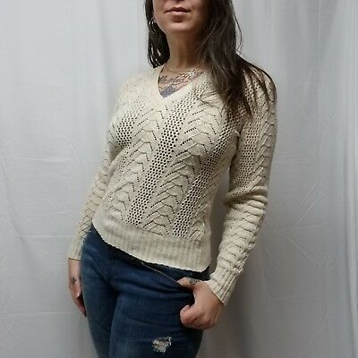 vtg 70s BRITISH VOGUE Wintuk Ivory Cable Knit Crochet V-neck Sweater Womens S/M