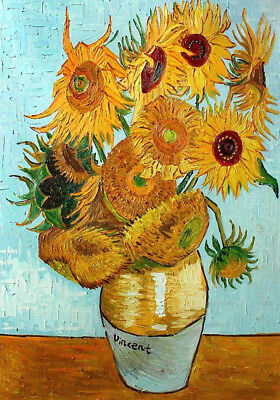 Vincent Van Gogh. Vase of  Sunflowers on Fine Canvas.  Offered for Sale from UK.