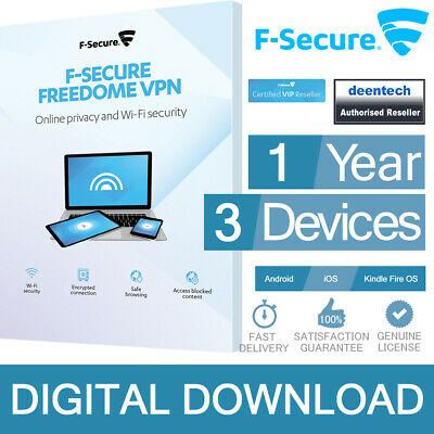 F-Secure Freedome VPN (3 Mobile Devices/1 Year) Original Cert. Digital Delivery